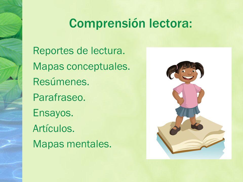 Comprensión lectora: Reportes de lectura.Mapas conceptuales.
