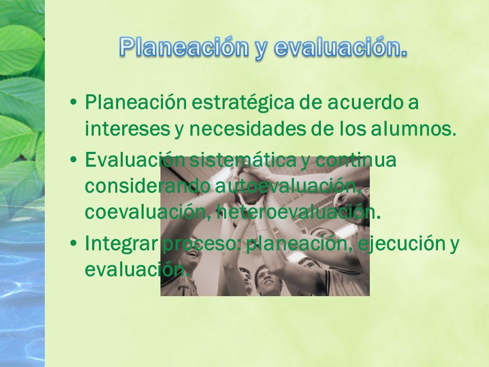 Planeación estratégica de acuerdo a intereses y necesidades de los alumnos.