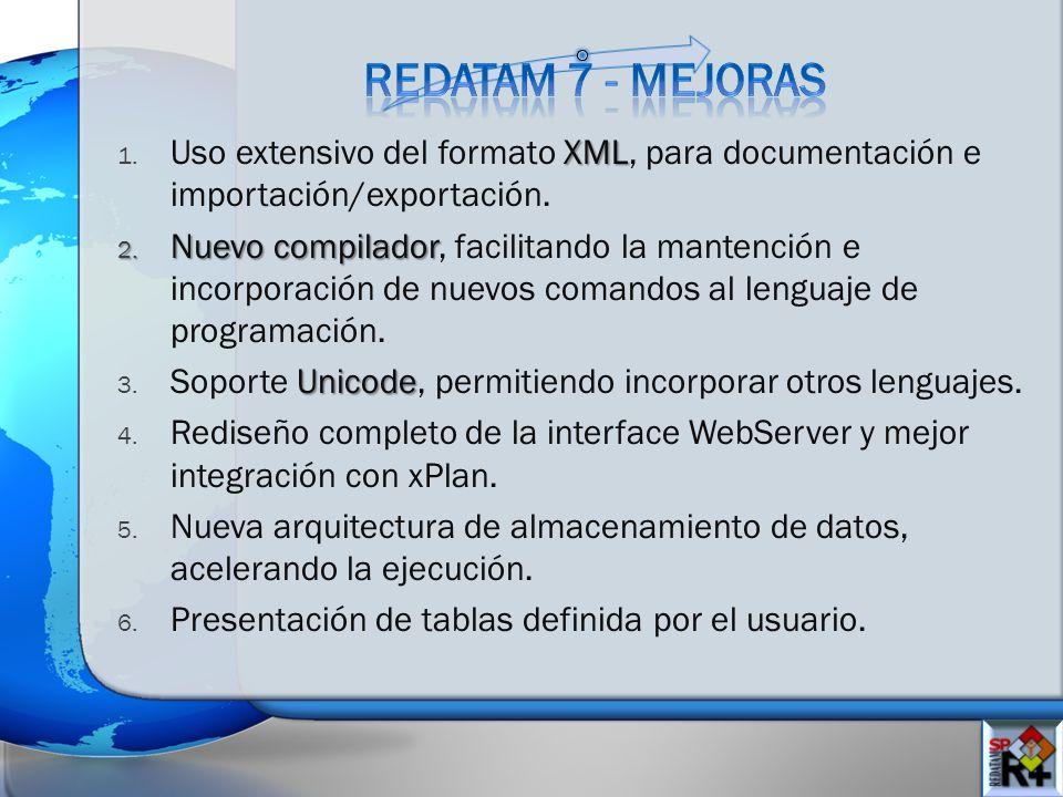 XML 1. Uso extensivo del formato XML, para documentación e importación/exportación. 2. Nuevo compilador 2. Nuevo compilador, facilitando la mantención