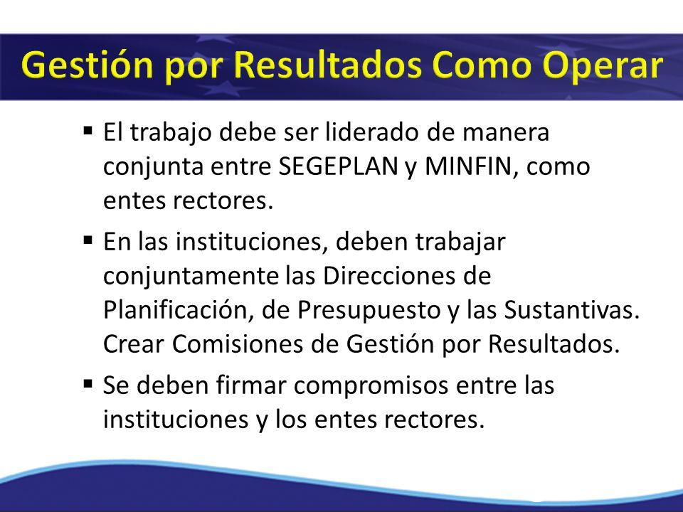 El trabajo debe ser liderado de manera conjunta entre SEGEPLAN y MINFIN, como entes rectores. En las instituciones, deben trabajar conjuntamente las D
