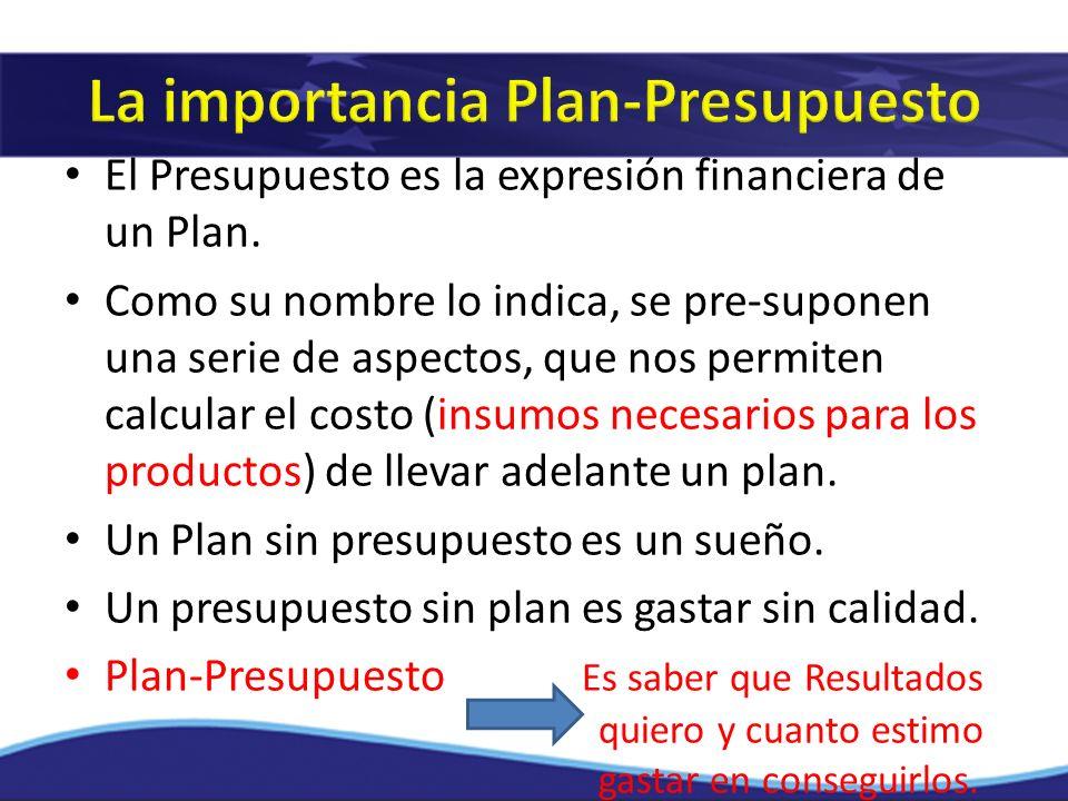 El Presupuesto es la expresión financiera de un Plan. Como su nombre lo indica, se pre-suponen una serie de aspectos, que nos permiten calcular el cos