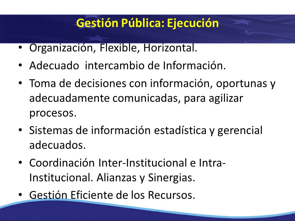 Organización, Flexible, Horizontal. Adecuado intercambio de Información. Toma de decisiones con información, oportunas y adecuadamente comunicadas, pa