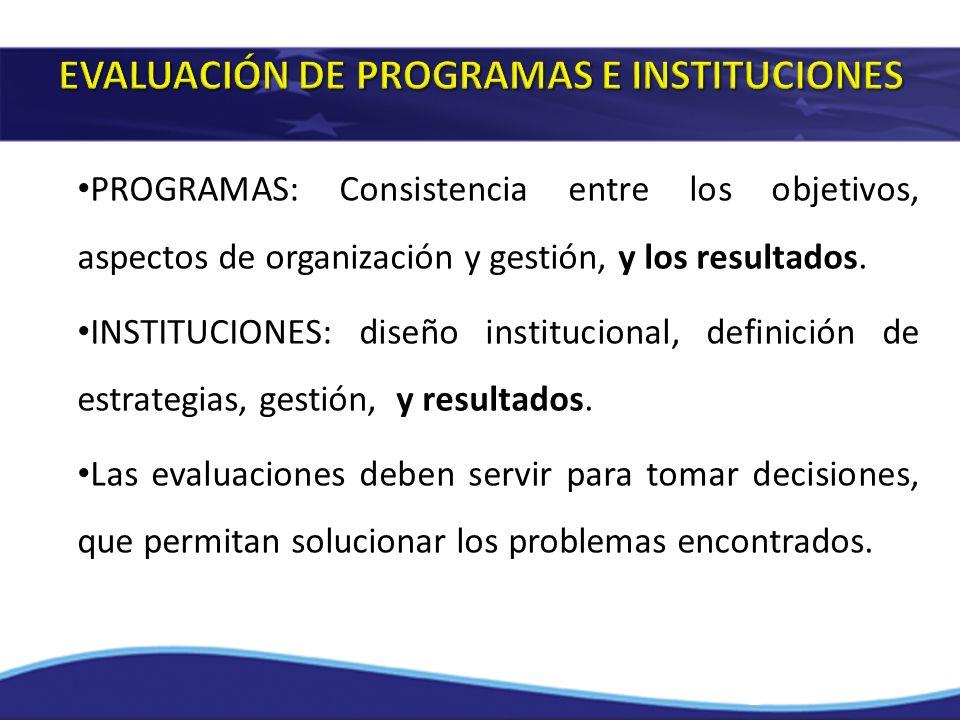 PROGRAMAS: Consistencia entre los objetivos, aspectos de organización y gestión, y los resultados. INSTITUCIONES: diseño institucional, definición de