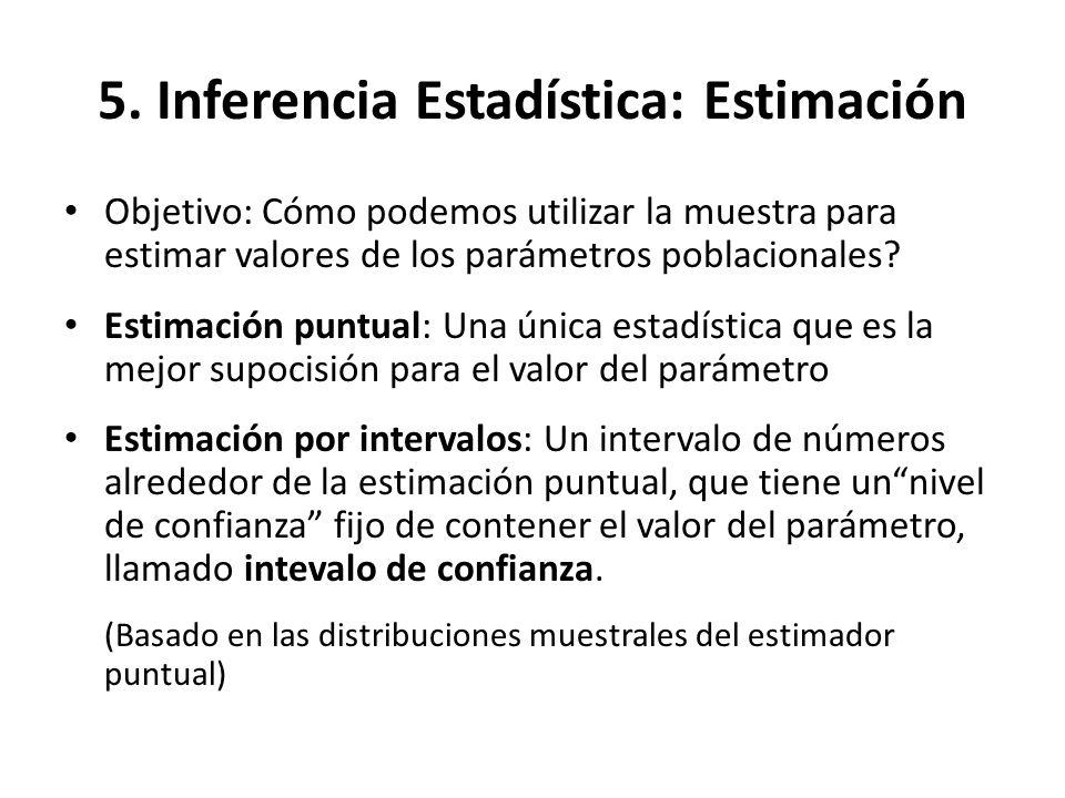 5. Inferencia Estadística: Estimación Objetivo: Cómo podemos utilizar la muestra para estimar valores de los parámetros poblacionales? Estimación punt