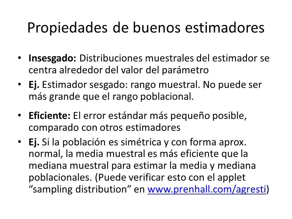 Propiedades de buenos estimadores Insesgado: Distribuciones muestrales del estimador se centra alrededor del valor del parámetro Ej. Estimador sesgado
