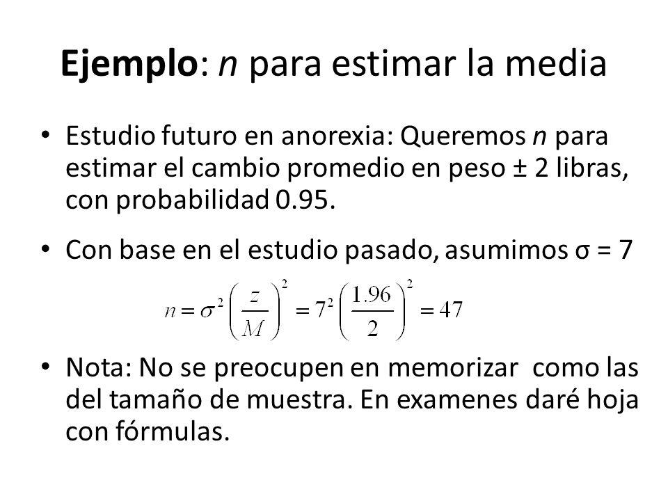Ejemplo: n para estimar la media Estudio futuro en anorexia: Queremos n para estimar el cambio promedio en peso ± 2 libras, con probabilidad 0.95. Con