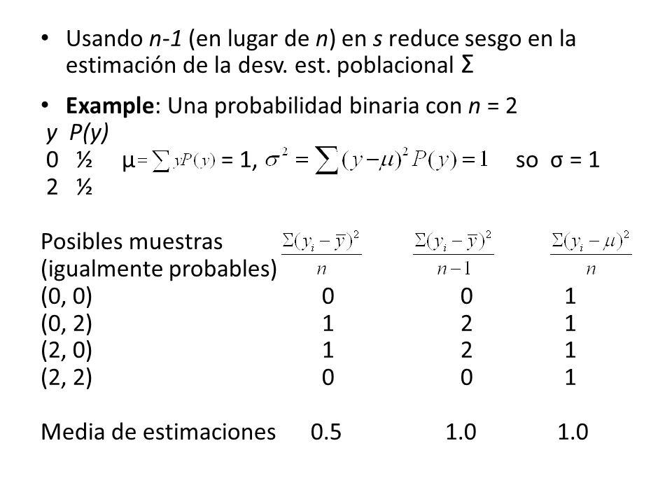 Usando n-1 (en lugar de n) en s reduce sesgo en la estimación de la desv. est. poblacional Σ Example: Una probabilidad binaria con n = 2 y P(y) 0 ½ µ