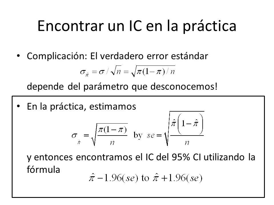Encontrar un IC en la práctica Complicación: El verdadero error estándar depende del parámetro que desconocemos! En la práctica, estimamos y entonces