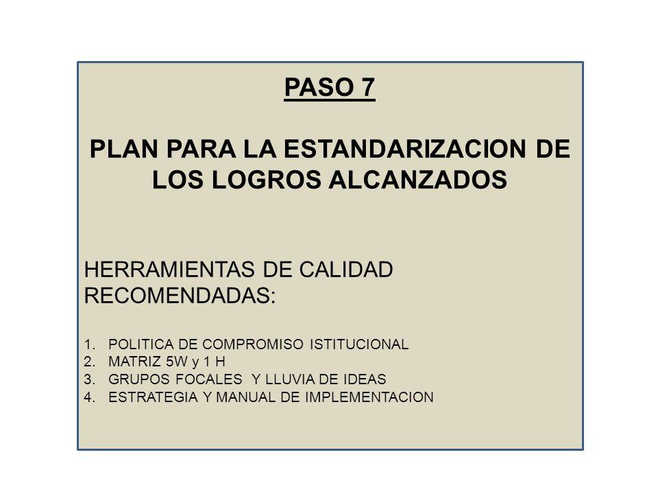 PASO 7 PLAN PARA LA ESTANDARIZACION DE LOS LOGROS ALCANZADOS HERRAMIENTAS DE CALIDAD RECOMENDADAS: 1.POLITICA DE COMPROMISO ISTITUCIONAL 2.MATRIZ 5W y