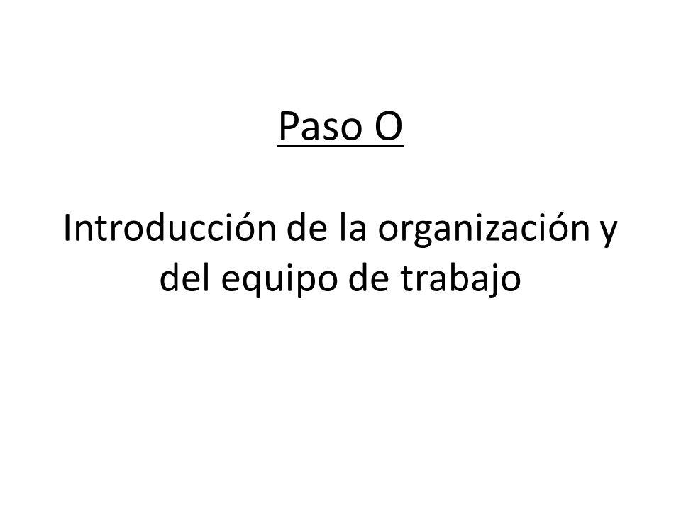 Paso O Introducción de la organización y del equipo de trabajo