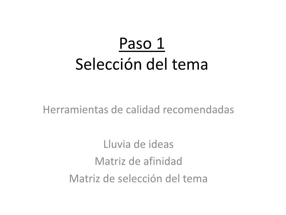 Paso 1 Selección del tema Herramientas de calidad recomendadas Lluvia de ideas Matriz de afinidad Matriz de selección del tema