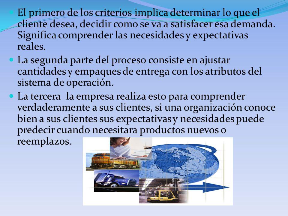 El primero de los criterios implica determinar lo que el cliente desea, decidir como se va a satisfacer esa demanda. Significa comprender las necesida