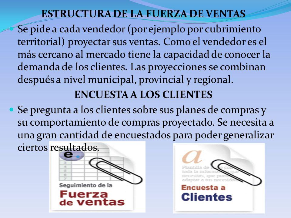 ESTRUCTURA DE LA FUERZA DE VENTAS Se pide a cada vendedor (por ejemplo por cubrimiento territorial) proyectar sus ventas. Como el vendedor es el más c