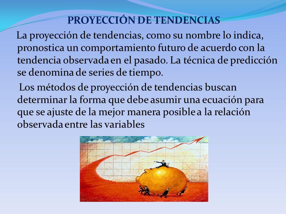 PROYECCIÓN DE TENDENCIAS La proyección de tendencias, como su nombre lo indica, pronostica un comportamiento futuro de acuerdo con la tendencia observ