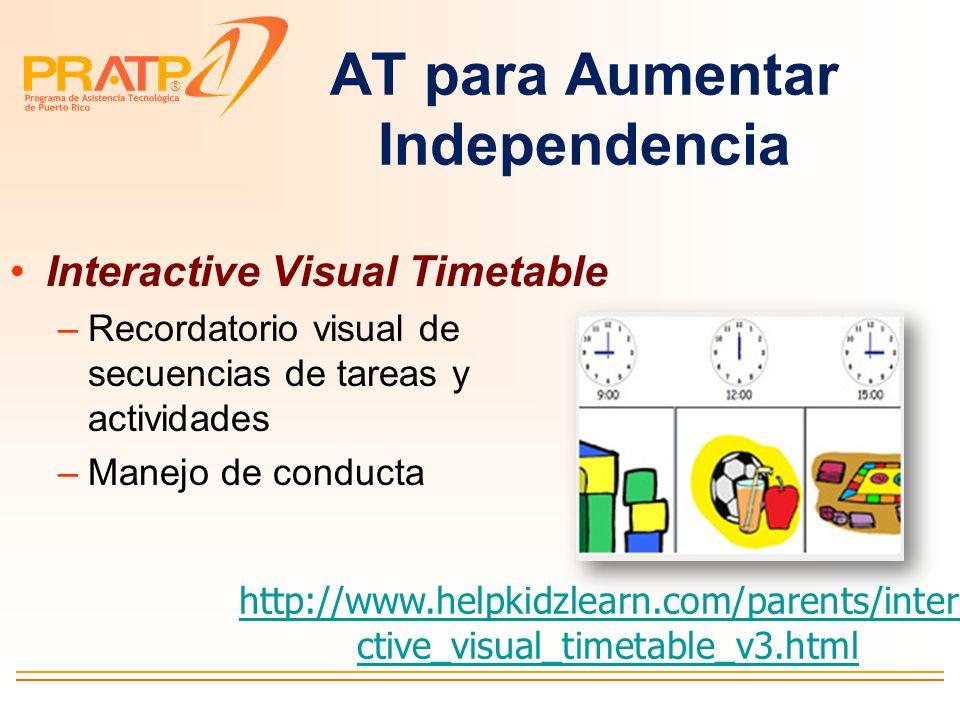 ® Programas de secuencias y recordatorios visuales y en audio Sense Factory http://www.oatsoft.org/Software/se nse-factory Picture scheduler para Ipho