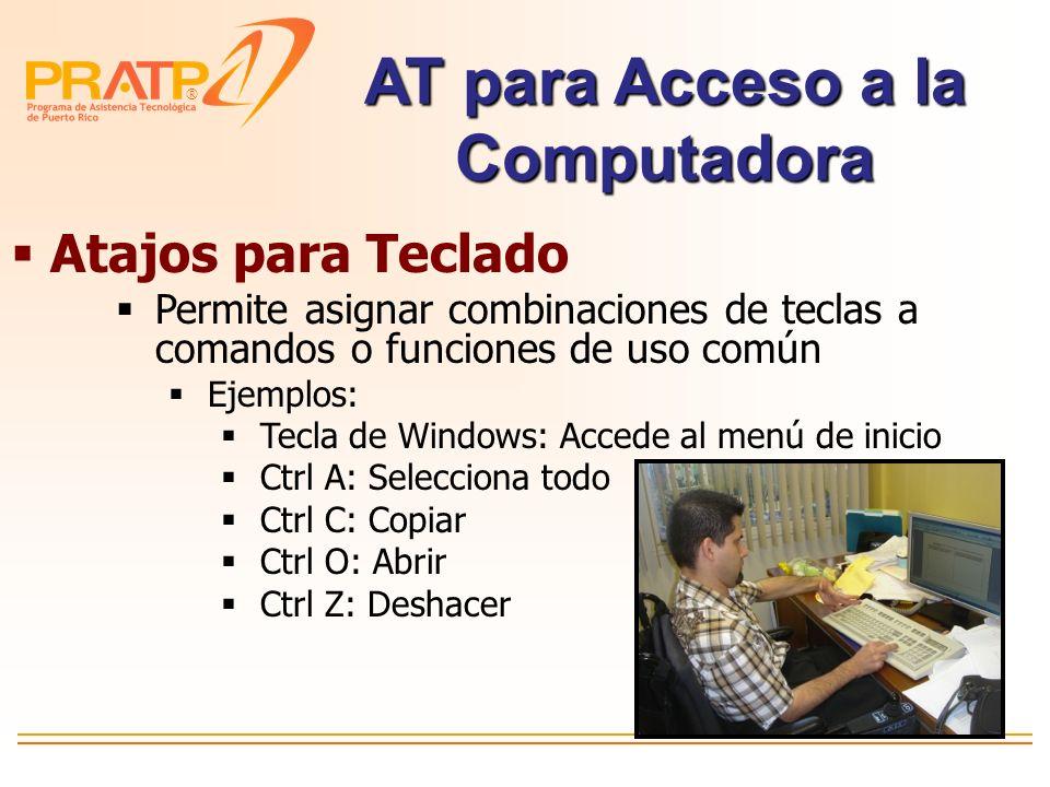 ® Control del ratón MousKeys Opciones de Accesibilidad de Windows AT para Escribir y Acceso a Computadora