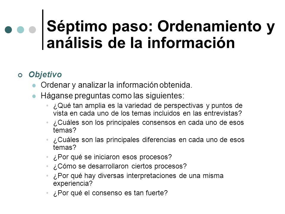 Objetivo Ordenar y analizar la información obtenida. Háganse preguntas como las siguientes: ¿Qué tan amplia es la variedad de perspectivas y puntos de