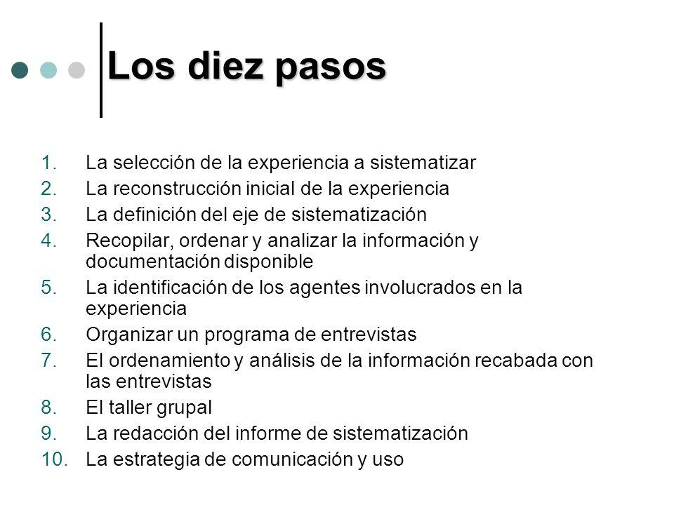 Los diez pasos 1.La selección de la experiencia a sistematizar 2.La reconstrucción inicial de la experiencia 3.La definición del eje de sistematizació