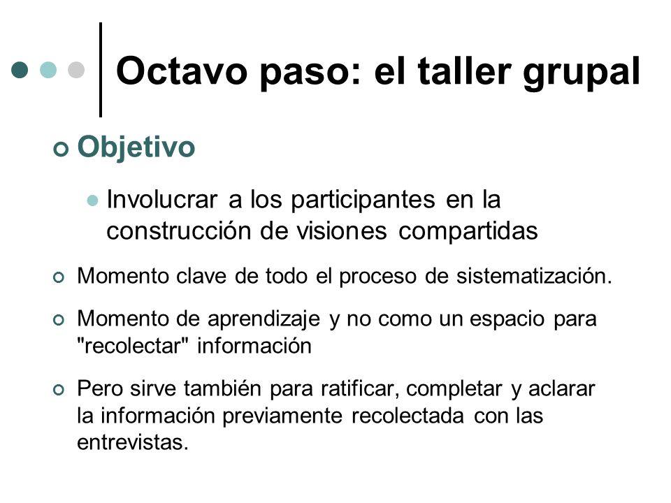 Octavo paso: el taller grupal Objetivo Involucrar a los participantes en la construcción de visiones compartidas Momento clave de todo el proceso de s