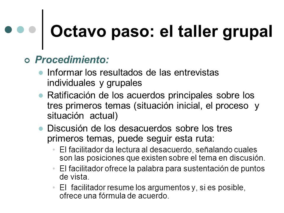 Procedimiento: Informar los resultados de las entrevistas individuales y grupales Ratificación de los acuerdos principales sobre los tres primeros tem