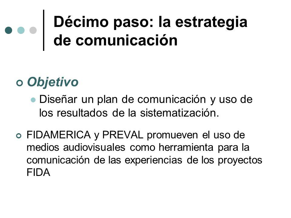 Décimo paso: la estrategia de comunicación Objetivo Diseñar un plan de comunicación y uso de los resultados de la sistematización. FIDAMERICA y PREVAL