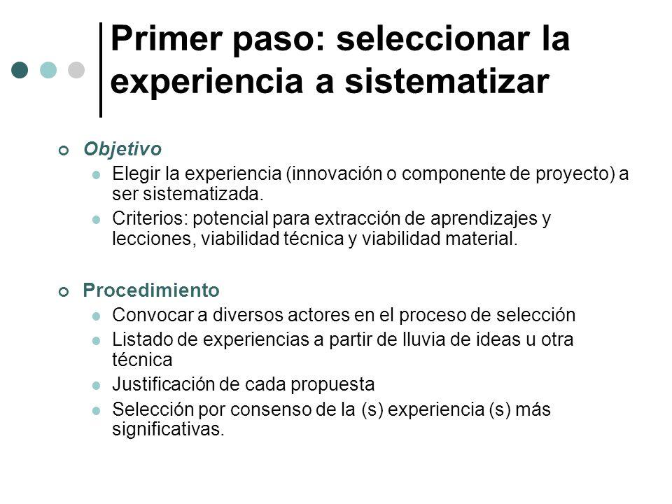 Primer paso: seleccionar la experiencia a sistematizar Objetivo Elegir la experiencia (innovación o componente de proyecto) a ser sistematizada. Crite