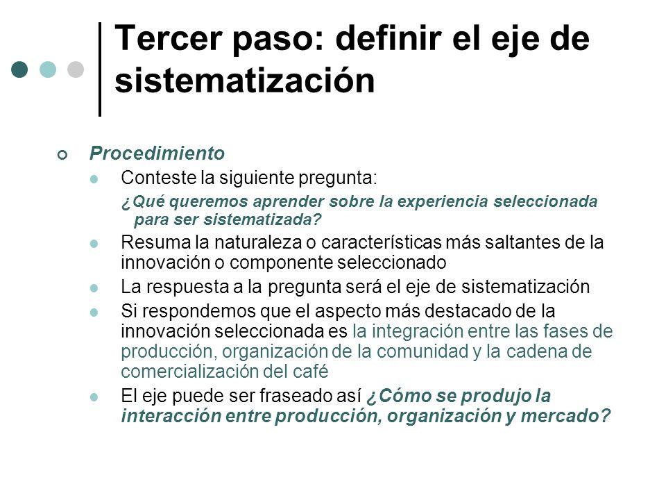 Tercer paso: definir el eje de sistematización Procedimiento Conteste la siguiente pregunta: ¿Qué queremos aprender sobre la experiencia seleccionada