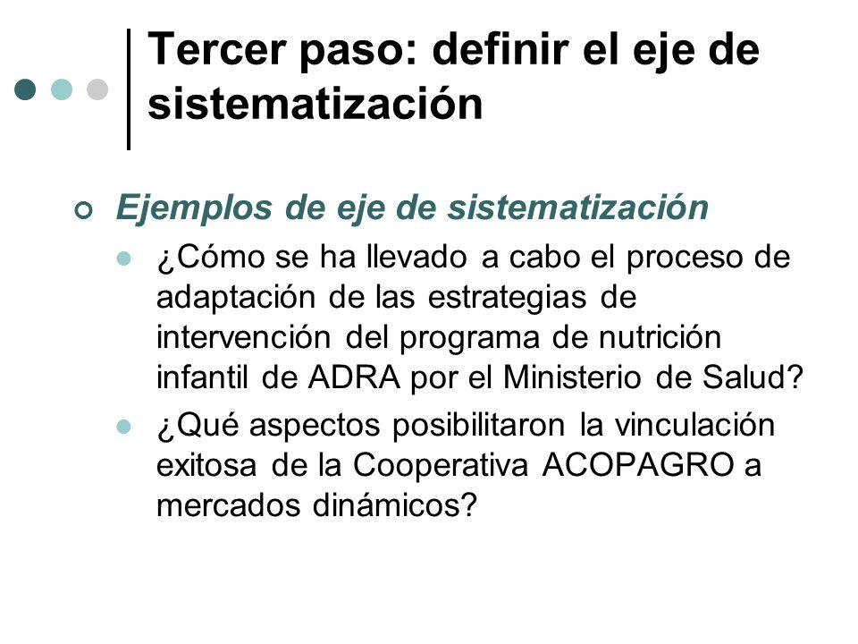 Tercer paso: definir el eje de sistematización Ejemplos de eje de sistematización ¿Cómo se ha llevado a cabo el proceso de adaptación de las estrategi