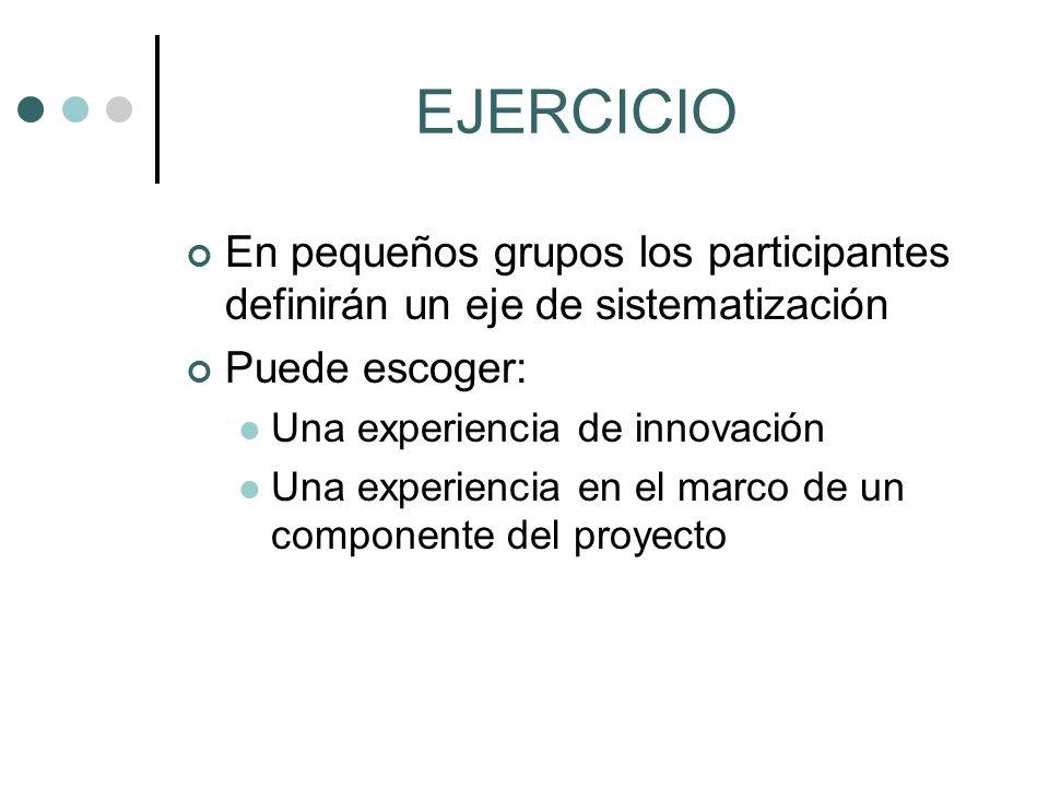 EJERCICIO En pequeños grupos los participantes definirán un eje de sistematización Puede escoger: Una experiencia de innovación Una experiencia en el