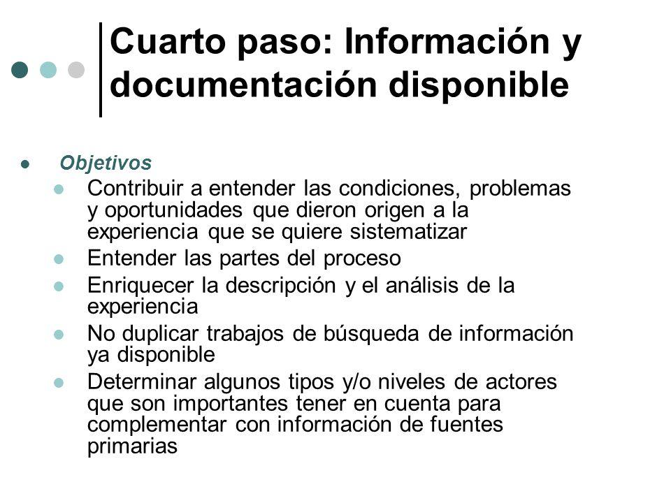 Cuarto paso: Información y documentación disponible Objetivos Contribuir a entender las condiciones, problemas y oportunidades que dieron origen a la