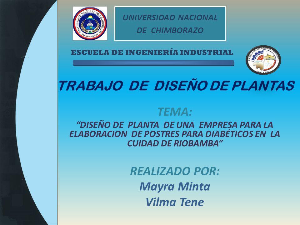 ESCUELA DE INGENIERÍA INDUSTRIAL TRABAJO DE DISEÑO DE PLANTAS TEMA: DISEÑO DE PLANTA DE UNA EMPRESA PARA LA ELABORACION DE POSTRES PARA DIABÉTICOS EN