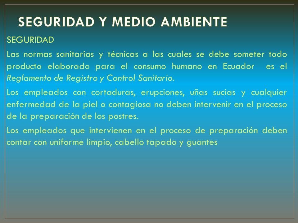 SEGURIDAD Las normas sanitarias y técnicas a las cuales se debe someter todo producto elaborado para el consumo humano en Ecuador es el Reglamento de