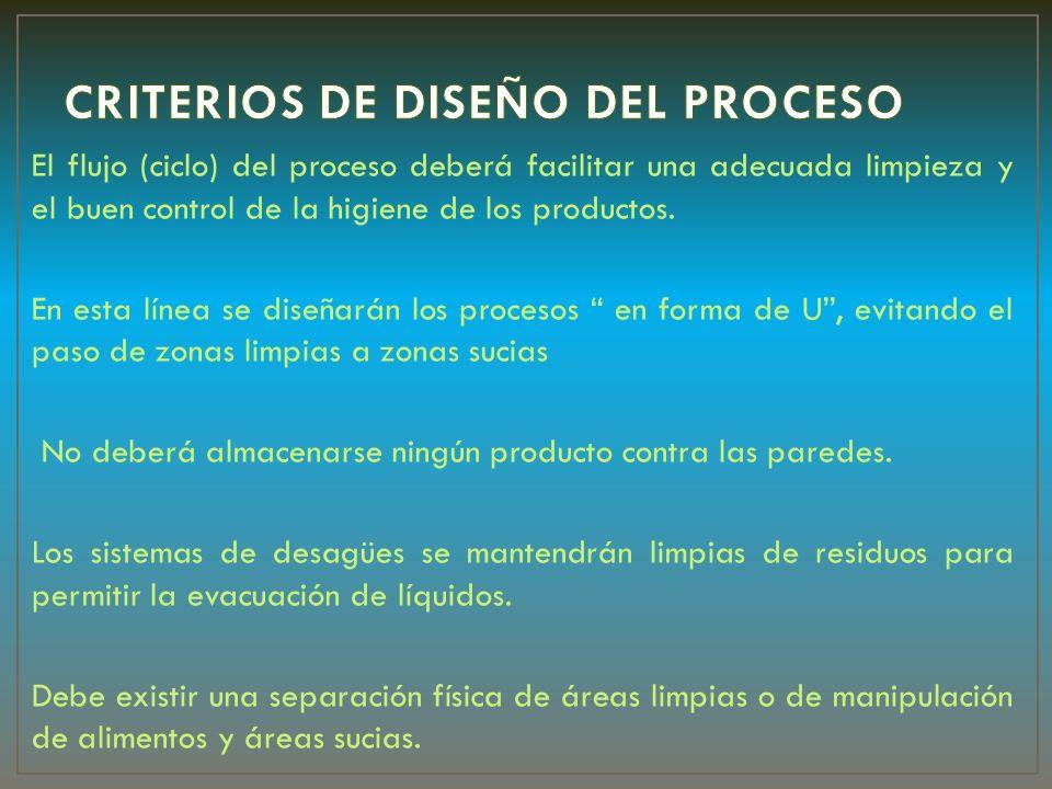 El flujo (ciclo) del proceso deberá facilitar una adecuada limpieza y el buen control de la higiene de los productos. En esta línea se diseñarán los p