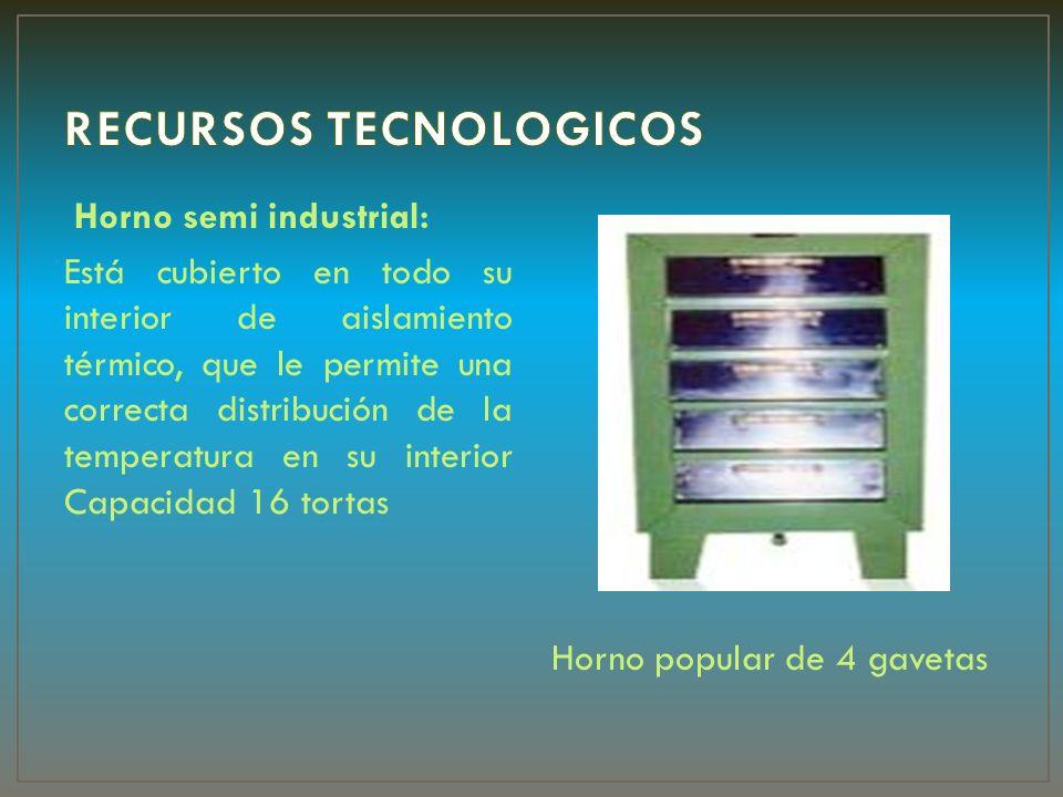 Horno semi industrial: Está cubierto en todo su interior de aislamiento térmico, que le permite una correcta distribución de la temperatura en su inte