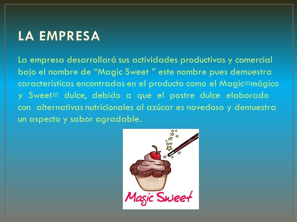 La empresa desarrollará sus actividades productivas y comercial bajo el nombre de Magic Sweet este nombre pues demuestra características encontradas e