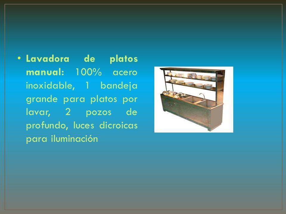 Lavadora de platos manual: 100% acero inoxidable, 1 bandeja grande para platos por lavar, 2 pozos de profundo, luces dicroicas para iluminación