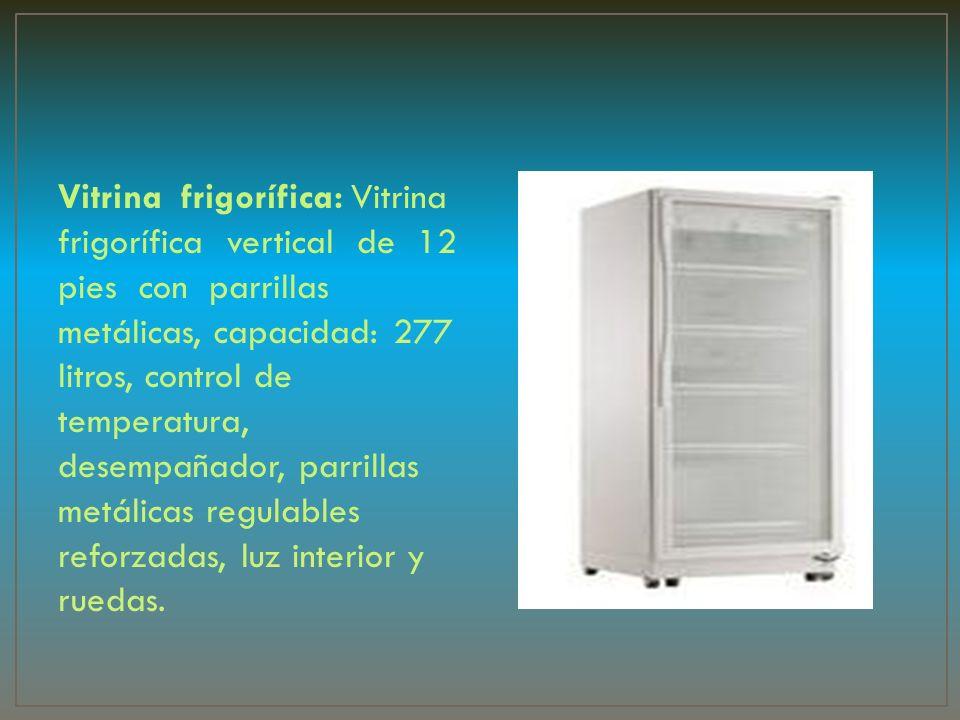 Vitrina frigorífica: Vitrina frigorífica vertical de 12 pies con parrillas metálicas, capacidad: 277 litros, control de temperatura, desempañador, par