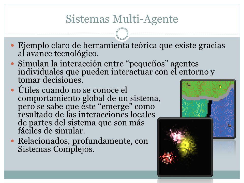 Sistemas Multi-Agente Ejemplo claro de herramienta teórica que existe gracias al avance tecnológico. Simulan la interacción entre pequeños agentes ind