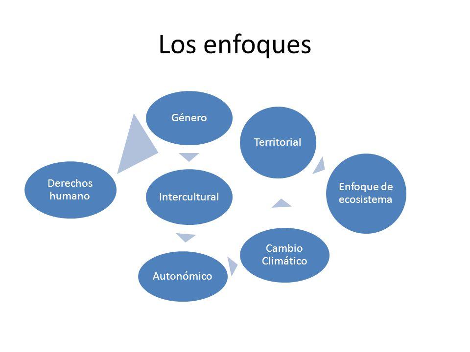 Los enfoques Derechos humano Género Intercultural Autonómico Cambio Climático Territorial Enfoque de ecosistema