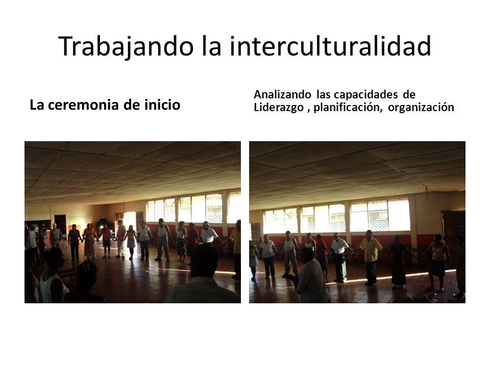 Trabajando la interculturalidad La ceremonia de inicio Analizando las capacidades de Liderazgo, planificación, organización