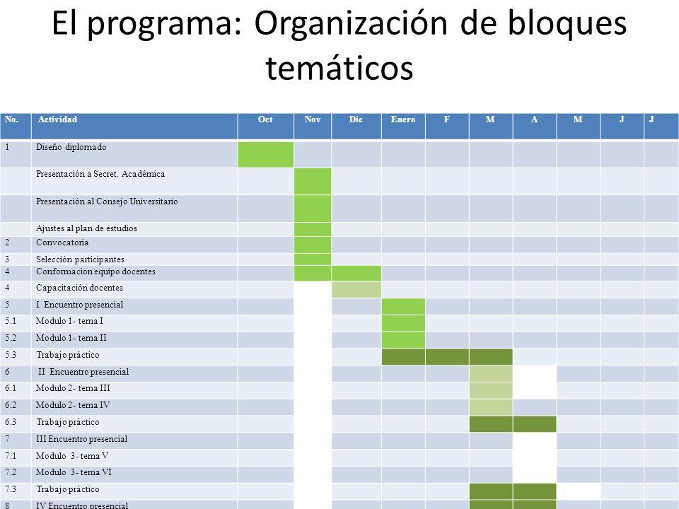 El programa: Organización de bloques temáticos No.