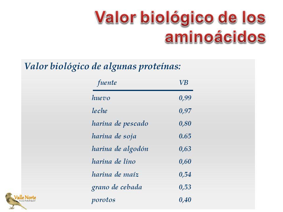Valor biológico de algunas proteínas: huevo leche harina de pescado harina de soja harina de algodón harina de lino harina de maíz grano de cebada por
