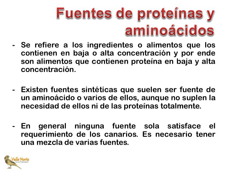 -Se refiere a los ingredientes o alimentos que los contienen en baja o alta concentración y por ende son alimentos que contienen proteína en baja y al