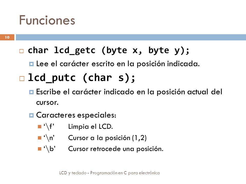 Funciones LCD y teclado - Programación en C para electrónica 10 char lcd_getc (byte x, byte y); Lee el carácter escrito en la posición indicada.
