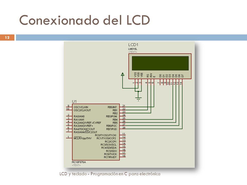 Conexionado del LCD LCD y teclado - Programación en C para electrónica 12