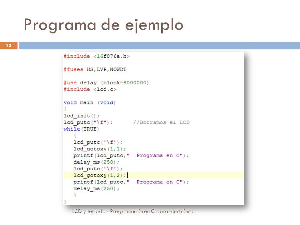 Programa de ejemplo LCD y teclado - Programación en C para electrónica 13