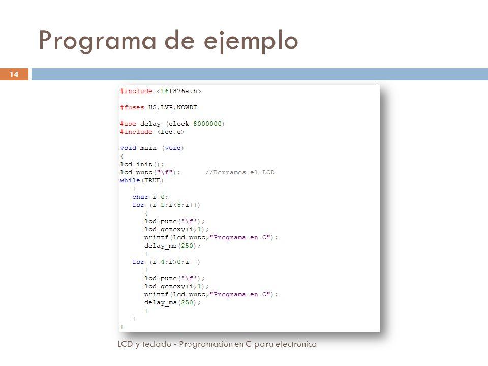 Programa de ejemplo LCD y teclado - Programación en C para electrónica 14