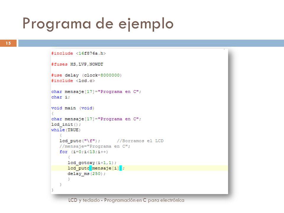 Programa de ejemplo LCD y teclado - Programación en C para electrónica 15