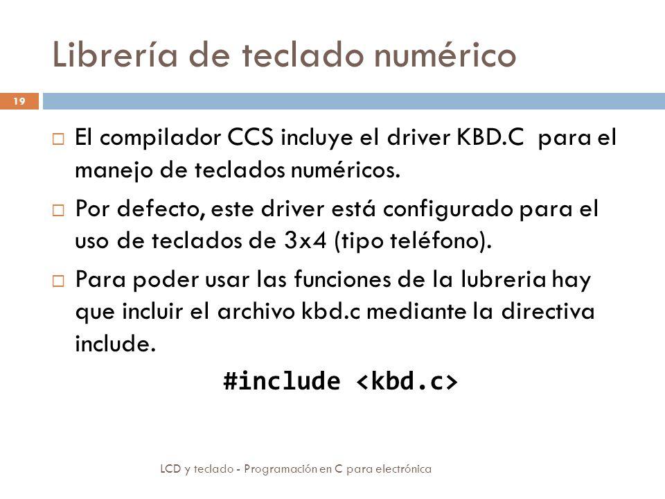 Librería de teclado numérico LCD y teclado - Programación en C para electrónica 19 El compilador CCS incluye el driver KBD.C para el manejo de teclados numéricos.