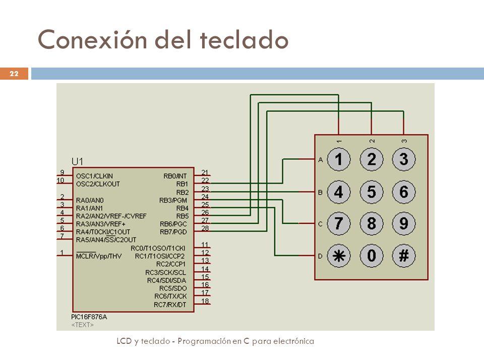 Conexión del teclado LCD y teclado - Programación en C para electrónica 22